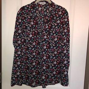 Express Portofino floral dress shirt size L